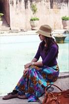 purple skirt - dark brown shoes - tawny Mario bag - purple top
