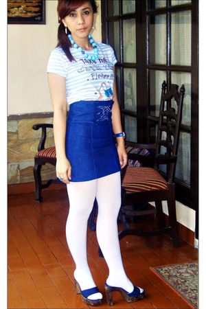 blue skirt - blue shoes - white tights - white t-shirt