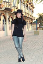 black Dorothy Perkins shoes - black Dloop hat - silver zar pants