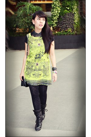 green dress - black Shoeone boots