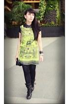 green dress - black Shoeone boots