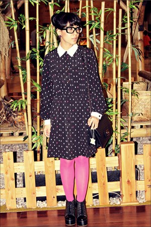 black juneandjulia boots - black odd&amp;dot dress - bubble gum Topshop tights