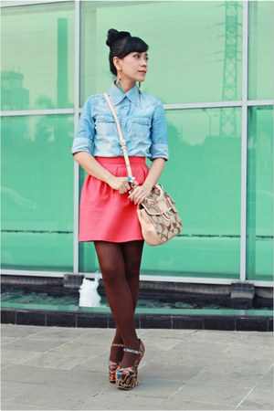 blue Jeffrey Campbell shoes - blue denim shirt Mango shirt - cream coach bag