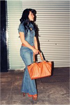 blue denim jumper - tawny bag - tawny Jessica Simpson heels
