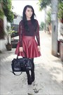 Black-zara-shoes-black-leather-guess-bag-maroon-topshop-stockings