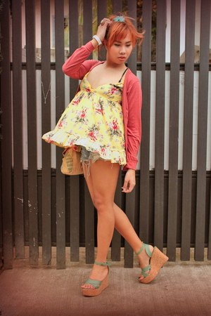 folie wedges - one design dress - tattered DIY shorts shorts - WAGW cardigan