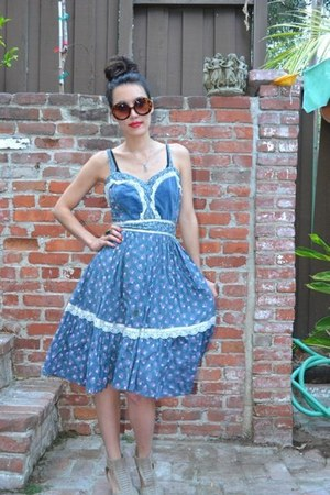 sky blue Anthropologie dress