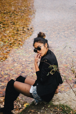 black asos blazer - black free people boots - blue free people shorts