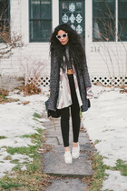white Forever 21 cardigan - gray mid length H&M coat