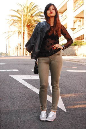 silver adidas sneakers - olive green Topshop jeans - black Zara jacket