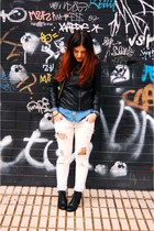 black H&M boots - white hakei jeans - black Zara jacket
