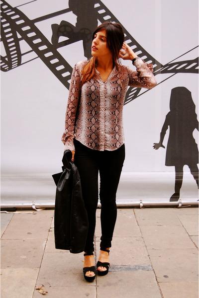 tan Zara shirt - black Topshop jeans - black Zara jacket