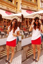 dark brown camper wedges - nude Mango sunglasses - red H&M skirt