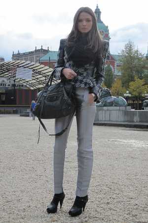 silver balenciaga pants - black Miu Miu shoes - gray Topshop jacket - black bale