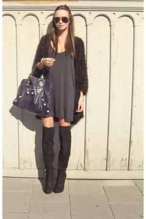 black weekday sweater - black Topshop boots - black Topman dress