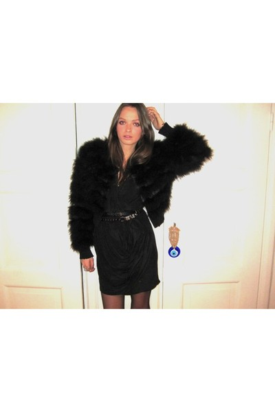 black Topshop jacket - black Topshop Boutique dress - black vintage belt