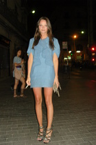 blue Marni dress - black Zara shoes
