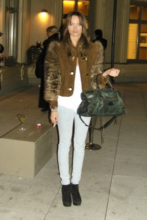 vintage jacket - GINA TRICOT jeans - balenciaga accessories - Topshop shoes