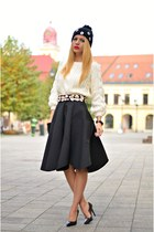 white Chicwish sweater - white sweater - black Chicwish skirt