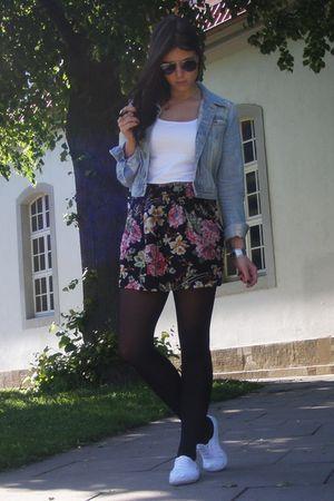 blue H&M jacket - black Pimkie skirt