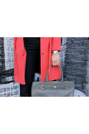 faux fur Anthropologie coat - tory burch purse
