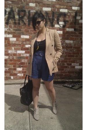 Fiona McGuinness boots - camel Zara blazer - Ebay bought bag - high-waisted Cue