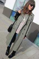 olive green vintage trench Burberry coat