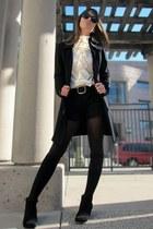 black pinstriped Zara shorts - black knit St John Knits jacket