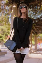 black crew neck vince sweater - black coach bag