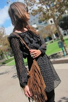 black sheer ruffle Wasteland dress - brown fringe unknown brand bag