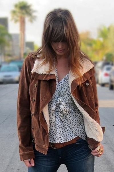 brown corduroy Les Folles De Joie jacket - blue Genetic Denim jeans