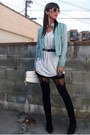Kimchi-blue-jacket-house-of-harlow-tights-clutch-melie-bianco-purse-oversi