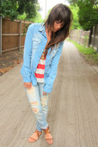 light blue boyfriend Forever 21 jeans - light blue pearl snap H&M shirt