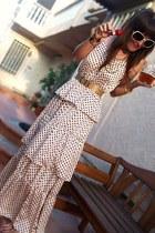 silk maxi H&M dress - gold thrifted vintage belt