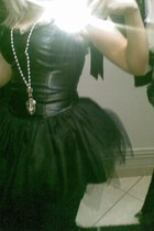 leather dress dress - pearls watch