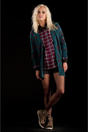 plaid grunge lucca couture top