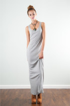 Crinkled Heather Grey Maxi Dress