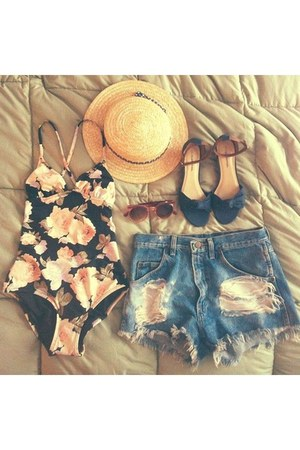 gold hat - shorts - bronze sunglasses - sandals - swimwear