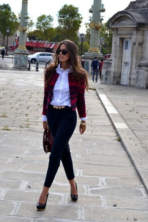 belt - belt - blazer - shirt - heels - pants