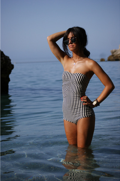 striped American Apparel swimwear
