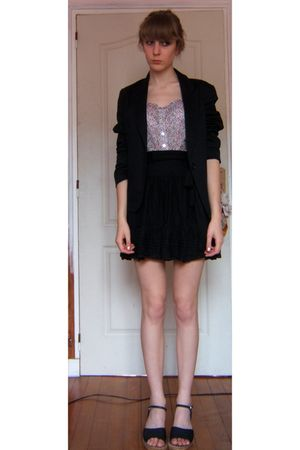 black Avant premiere blazer - pink Newlook top - black tippster skirt - black te