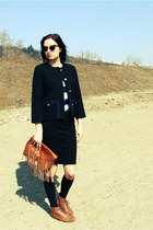 black H&M coat - dark brown Zara shoes - black H&M skirt