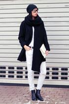 white Zara jeans - black Mango coat - white united colors of benetton bag