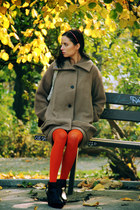 carrot orange Calzedonia tights - black Topshop boots - tan asos coat