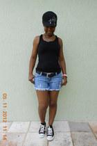 light blue short shorts Paris Blues shorts - black racerback grane shirt