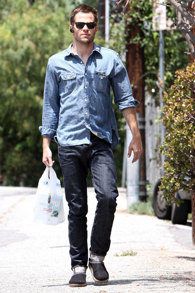 "Blue Shirts, Blue Jeans, Black Shoes, Brown Sunglasses | ""Denim on ..."