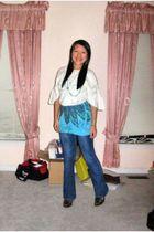 white 579 sweater - blue rue21 top - blue Paris Blues jeans - black shoes - blue