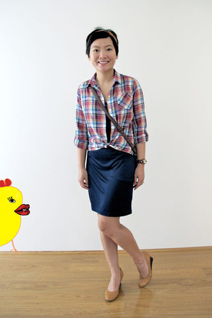 orange checkered Uniqlo shirt - navy slip dress Muji dress
