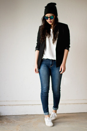 blue Levis jeans - black Forever 21 blazer - white H&M t-shirt