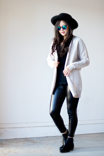 off white knit Express cardigan - black Nordstrom boots - black Forever 21 hat